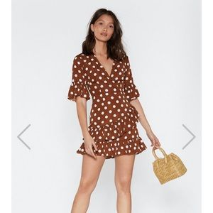 Nasty Gal Dresses - NWOT polka dot wrap mini dress